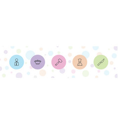 5 chef icons vector