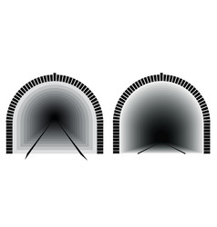 A long and deep railway tunnel way directly vector