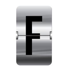 Alphabet silver flipboard letters f vector image
