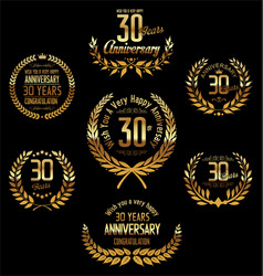 anniversary golden laurel wreath 30 years vector image