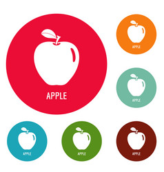 apple icons circle set vector image