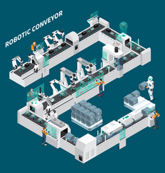 automated conveyor isometric background vector image