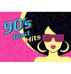 Best hits of 90s illistration with disco woman vector image