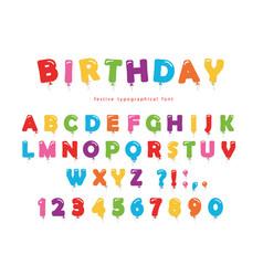 birthday balloon font festive abc letters vector image