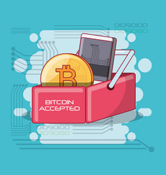 bitcoin accepted design vector image