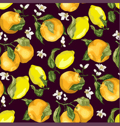 Blooming oranges and lemons on the seamles vector