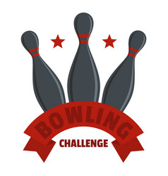 Bowling challenge logo flat style vector