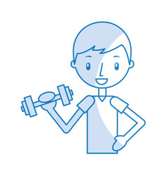 boy exercising with dumbells vector image