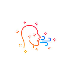 Breathing line icon breath difficulties sign vector
