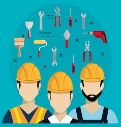 Builders characters with construction equipment vector