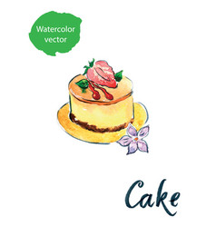 Cake with strawberry vector