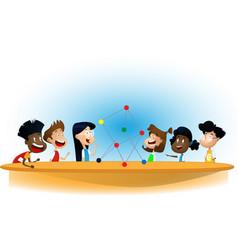 Cartoon boys and girl standing around table vector