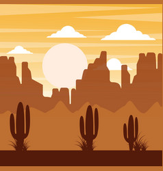 Cartoon desert landscape with cactus hills and vector
