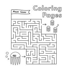 cartoon jellyfish coloring book maze game vector image