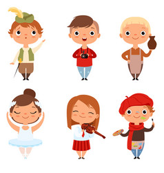 Cartoon kids boys and girls of different creative vector