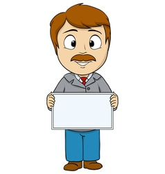 Cartoon man with empty board vector image