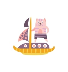 Cat On A Sailing Boat Stylized Fantastic vector