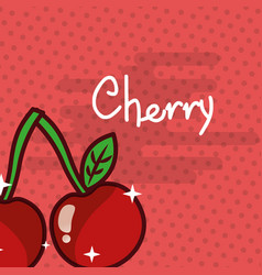 cherry fruit delicious shiny poster vector image