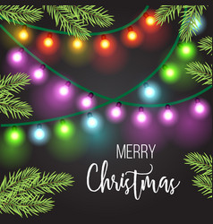 christmas and new year light garland on a dark vector image