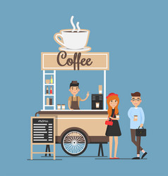 Coffee stand board and seller vector