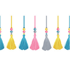 Colorful decorative tassels beads and vector