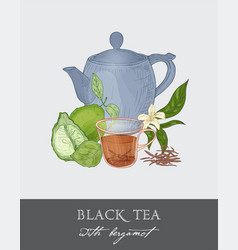 Colorful drawing of blue teapot cup tea leaves vector