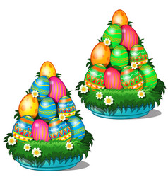 colorful easter eggs stacked in cone on plate vector image