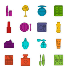 cosmetics icons doodle set vector image
