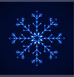 Crystal blue detailed snowflake on blue vector
