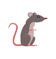 Cute grey mouse funny rodent character vector
