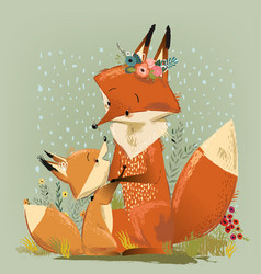 cute mom fox with her kid vector image