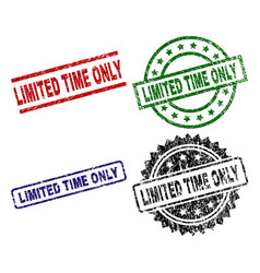 Damaged textured limited time only stamp seals vector