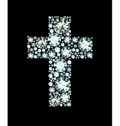 Diamond Christian Cross vector image
