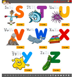 Educational cartoon alphabet set for children vector