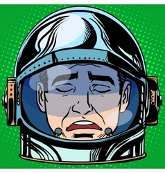 emoticon sadness Emoji face man astronaut retro vector image