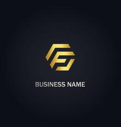 F initial shape gold logo vector