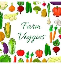 Farm vegetable poster with veggies frame border vector