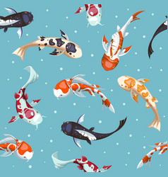 Fish seamless pattern gold koi pattern wallpaper vector