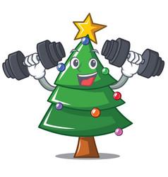 Fitness christmas tree character cartoon vector