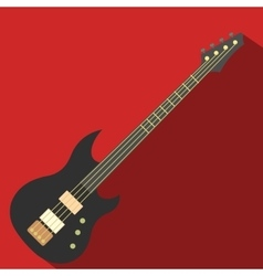 Flat electric guitar icon vector image