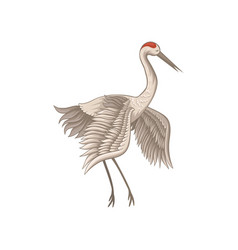 Flat icon of beautiful red-crowned crane vector