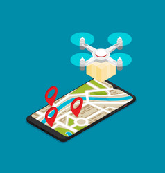 Flat isometric drone delivery isolated on color vector