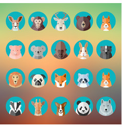 Flat style animal portraits or avatars icon vector