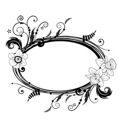 frame with flowers narcissus vector image