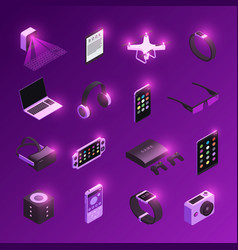 gadgets isometric icons set vector image