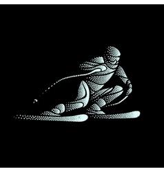 Giant Slalom Ski Racer stippled silhouette vector image