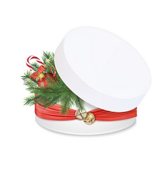 gift box with red silk ribbon and bells vector image