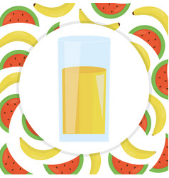 glass with juice of banana and watermelon vector image