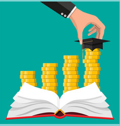 graduation cap book and gold coin vector image