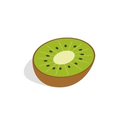 Half of kiwi fruit icon isometric 3d style vector image